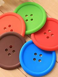 Button Shape Insulation Coaster(Random Color)