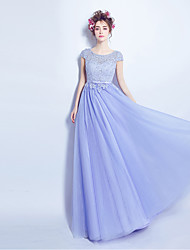 Formal Evening Dress A-line Jewel Floor-length Lace / Tulle with Beading