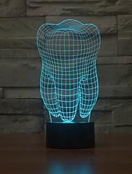 forma del diente 3d ilusión lámpara de mesa de luz llevada de la noche
