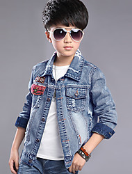 Boy's Cotton Spring/Fall Fashion Hole Design Patchwork Jeans Coat