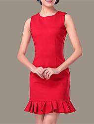 Gaine Robe Femme Soirée / Cocktail Sexy,Couleur Pleine Col Arrondi Au dessus du genou Sans Manches Rouge / Noir Polyester EtéTaille