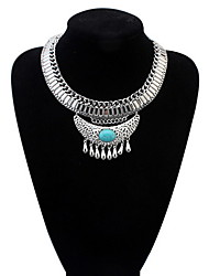 Crescent Exaggerated Crude Chain Necklace Inlaid Turquoise Jewelry National Wind