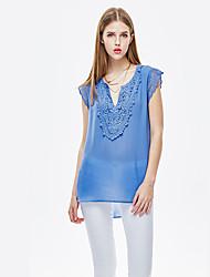 Herz Soul® Damen V-Ausschnitt Ärmellos T-Shirt Blau-11AA27322