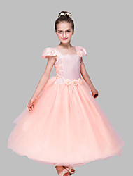 Ball Gown Ankle-length Flower Girl Dress - Satin / Tulle Short Sleeve Square with Flower(s)