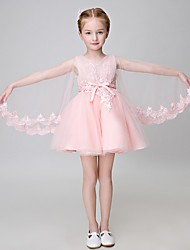 A-line Knee-length Flower Girl Dress - Tulle Long Sleeve V-neck with Appliques