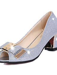 Women's Sandals Summer Peep Toe PU Casual Chunky Heel Bowknot Silver / Gold Others