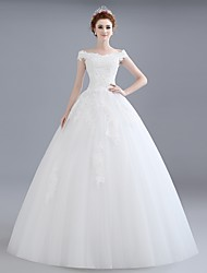 Ball Gown Wedding Dress Floor-length Off-the-shoulder Lace / Satin / Tulle with Beading / Lace