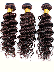 3pcs Brazilian Hair Bundles Weaves Dark Brown Deep Wave Human Hair Weft 100% Unprocessed Brazilian Human Hair Weft