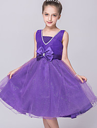 A-line Knee-length Flower Girl Dress-Tulle / Sequined Sleeveless