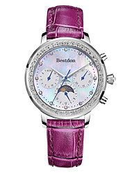 Bestdon® Lady Schoolgirl Fashion Rhinestone Calendar Moon Phase 24 hours Indicated Japanese Quartz Wristwatch