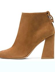 Черный / Хаки-Женская обувь-Для офиса / Для праздника-Замша-На толстом каблуке-С острым носком / Модная обувь-Ботинки