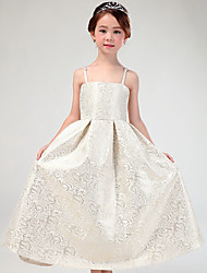 A-line Ankle-length Flower Girl Dress - Cotton / Satin Sleeveless Spaghetti Straps with