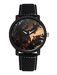 SOXY® Men's Black/Brown Leather Band Wars Black Animation Case Analog Quartz Dress Watch(NO Water Ressistant)