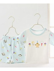 Baby Casual/Daily Animal Print Clothing Set-Cotton-Summer-Blue / Beige