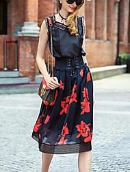femmes Prase impression de jupes noires, simples genou
