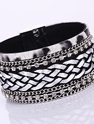 European Style Fashion Multilayer Rhinestone Weave Chain Wild PU Magnet Alloy Buckle Bracelet