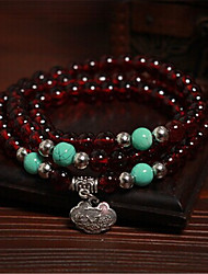 Burgundy garnet crystal bracelet couple bracelet multilayer