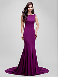 Formal Evening Dress Trumpet / Mermaid Bateau Court Train Jersey with