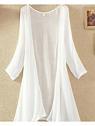 Women's Holiday Street chic Summer Blazer,Solid Round Neck Long Sleeve White / Gray / Green Linen Sheer