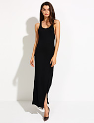 Women's Sexy Beach Casual Cute Maxi Plus Sizes Inelastic Sleeveless Maxi Dress (Others)