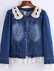 Women's Blue Denim Jacket, Pearl Collar Long Sleeve Lace Hem