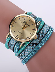Women's Bohemian Style Snake Leopard Leather Band Gold Case Analog Quartz Bracelet Fashion Watch Strap Watch