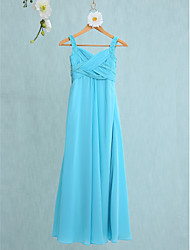 2017 Lanting Bride® Floor-length Chiffon Junior Bridesmaid Dress Trumpet / Mermaid Straps with Criss Cross