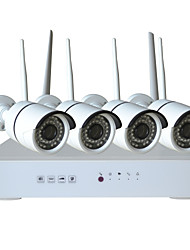 4CH 720P Wireless WIFI NVR Kit Home Security System with 4Pcs 1.0 Megapixel HD WIFI IR Outdoor/Indoor IP Cameras