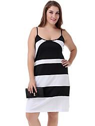 Women's Casual/Daily Street chic Plus Size Dress,Patchwork Strap Mini Sleeveless White Polyester / Nylon