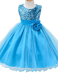 Blue Flower Girls Dress for Wedding Infant Princess Girl Party Dresses Toddler Costume Baby Kids Clothes for 6M~3Yrs
