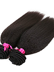 Evawigs Kinky Straight Brazilian Virgin Hair Machine Made Wefts Unprocessed Natural Color Pack of 2