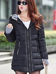 Пальто Простое Уличный стиль Длинная Пуховик Для женщин,Однотонный На каждый день Хлопок Полиэстер Без наполнителя,Длинный рукав Капюшон