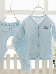 Baby Casual/Daily Solid Clothing Set-Cotton-Winter / Fall-Blue / Pink / Gray