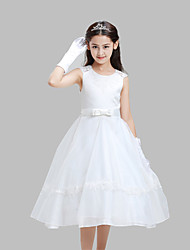A-line Tea Length Flower Girl Dress - Cotton Lace Organza Satin Jewel with Bow(s) Sash / Ribbon