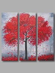 "Stretched (Ready to hang) Hand-Painted Oil Painting 36""x36"" Canvas Wall Art Modern Abstract Red Trees"