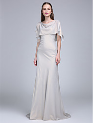 Sweep / Brush Train Chiffon Bridesmaid Dress A-line Cowl with