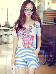 Pink Doll® Women's Casual Print Round Neck Short Sleeve T Shirt White-X15BTS023