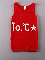 Vestido Chica de-Casual/Diario-Un Color-Algodón-Otoño-Rojo / Gris