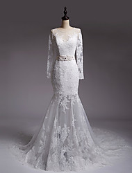 Fit & Flare Wedding Dress Court Train Jewel Tulle with Appliques / Crystal / Sash / Ribbon
