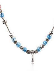 Light Pink/Blue DIY Beads Strand Necklace with Flower Print Antique Silver Fine Jewelry