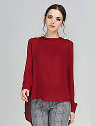 Women's Casual/Daily Plus Size / Street chic Fall Blouse,Solid Crew Neck Long Sleeve Polyester Medium