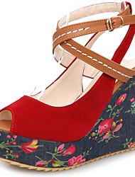 Women's Shoes Wedge Heel Peep Toe Flower Printed Platform Sandals More Color Available