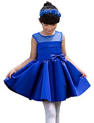 Ball Gown Knee-length Flower Girl Dress - Satin Sleeveless Jewel with Bow(s)