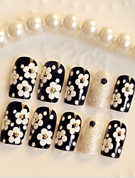 24PCS Fashion White Daisy Nail Tips
