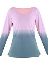 Women's Causal Round Neck Long Sleeve Gradual Color T-shirt