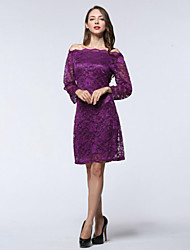 Women's Party/Cocktail / Plus Size Sexy Sheath Dress,Solid Boat Neck Above Knee Long Sleeve Purple Polyester Summer