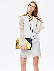 mulheres heartsoul de sair vestido simples / bonito turno, v pescoço sólido acima do joelho manga longa de poliéster branco / nylon