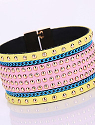 European Style Luxury Fashion Rivet Nail Leather Magnet Aalloy Buckle Bracelet
