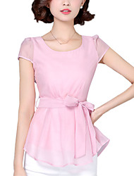 Summer Women's Casual/Going Out/Cute Round Neck Short Sleeve Lacing Bow Organza Blouse Tops
