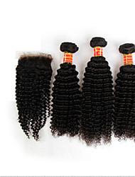 4pcs muito cabelo encaracolado Kinky brasileira virgem com fecho de três feixes de Remy não transformados tramas do cabelo humano com
